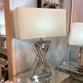 MILANO MIRROR 'X' TABLE LAMP WITH WHITE SHADE