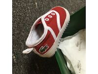 Lacoste red crib shoes size 1