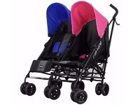 Obaby Apollo Black/ Grey Twin double Pushchair - Pink & Blue.