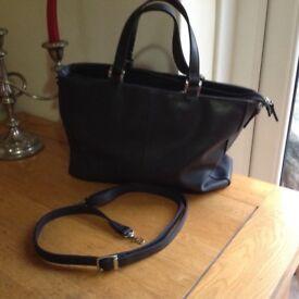 Claire Langford black leather handbag