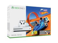 **SEALED** XBOX ONE S & FORZA HORIZON 3 & HOT WHEELS GAMES & 1 MONTH XBOX GAME PASS, BRAND NEW 500GB