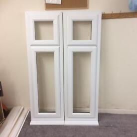 2 white pvcu A rated windows with bevelled glass, brand new, 495 x 1585, £150 each.