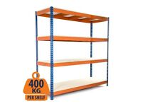 Shelving (2440h x 1530w) Blue & Orange with 4 Chipboard Shelves - Used Like New
