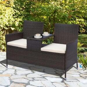 Patio 2 Seater Rattan Wicker Chair Bench with Tea Table Cushioned Seat All Weather Outdoor Patio Furniture
