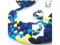 Blue-yellow Twisted necklace + bracelet