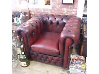 Vintage Chesterfield Ox Blood Red Cub Back Armchair