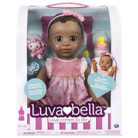 BNIB Luvabella Doll Dark Brown Hair NEW African American interactive baby girls toy NEW