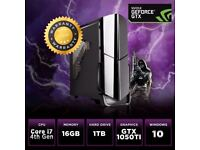 Desktop GAMING PC QUAD Core i7 4th 16GB 1TB WIFI Nvidia GTX 1050TI 4K, VR Ready Win 10 Ideal Xmas PC