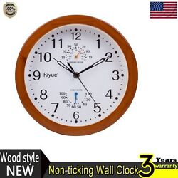 Wood Style Wall Clock Silent Frame Glass Cover Round Wall Colock Non-ticking