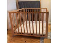 BabyDan Felix wooden playpen in beech wood with grey machine washable mat