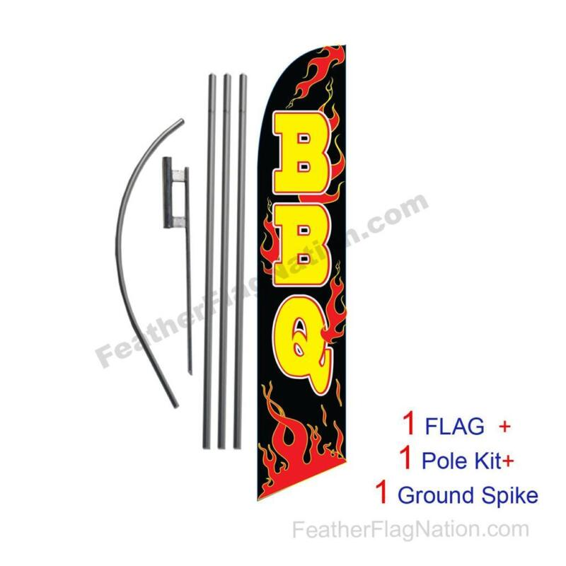 BBQ Feather Banner Swooper Flag Kit with pole+spike Barbeque