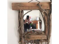 Handmade driftwood mirror rustic unique perfect for a nautical bathroom