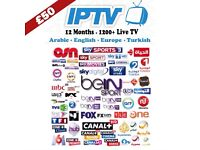 Premium TV Channels 1 Year UK and International Channels IPTV