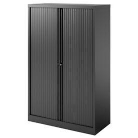 Bisley Tambour Cupboard Lockable 3 Shelves Steel 1000 x 470 x 1570mm Black