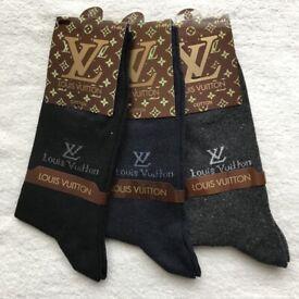 f6a501537234d Louis Vuitton Cotton Socks 3 Pack - Black, Blue & Grey -UK 7-