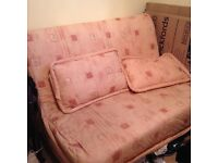 Metal action bed settee, with covers and cushions
