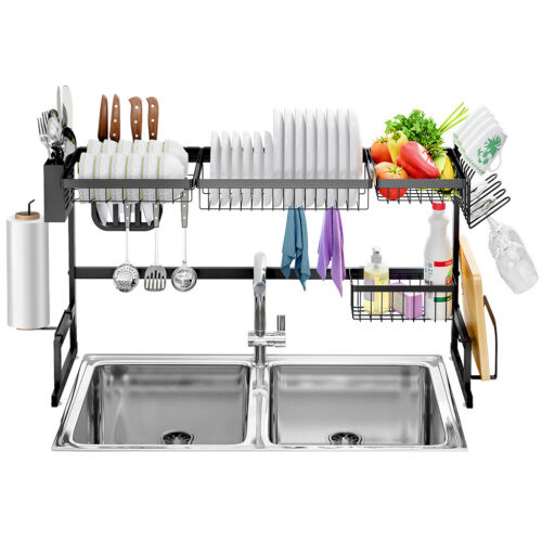 2-Tier Stainless Steel Dish Drying Rack Over Sink Utensil Dr