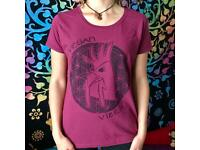 Hand painted, Vegan Rooster pattern, women's T-shirt