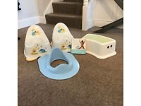 2 x potties, foot stool, toilet training seat + Gina Ford book