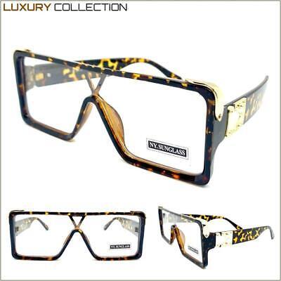 Übergröße Luxus Designer Shield Stil Klarglas Brillen Schildplatt Gold Rahmen