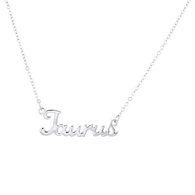 Lux Accessories Horoscope Zodiac Sign Taurus Silver Necklace