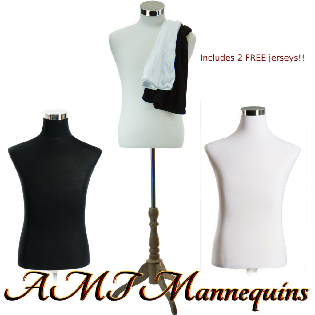 "18/38/32"" Male mannequin dress form+ stand,+2 jerseys, white/black torso-MH-102"
