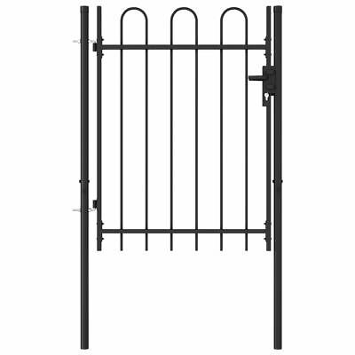 vidaXL Fence Gate Single Door with Arched Top Steel 1x1.2m Black Patio Barrier