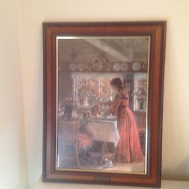 Framed Glazed Quality Print THE COFFEE IS POURED by L Tuxen