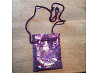 Purple beaded shoulder or clutch bag