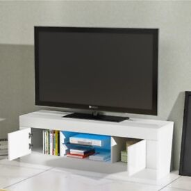 White TV cabinet with glass shelf and led light