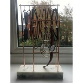 John Lewis 12 Hook Marble and Rose Gold Jewellery Stand