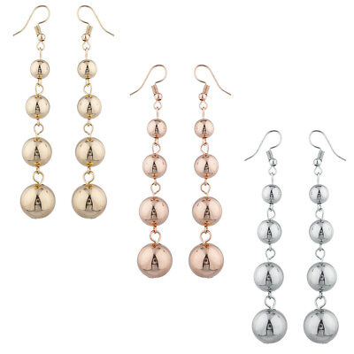 Lux Accessories Gold Silver Rose Gold Tone Multi Ball Drop Earring Set 3prs ()