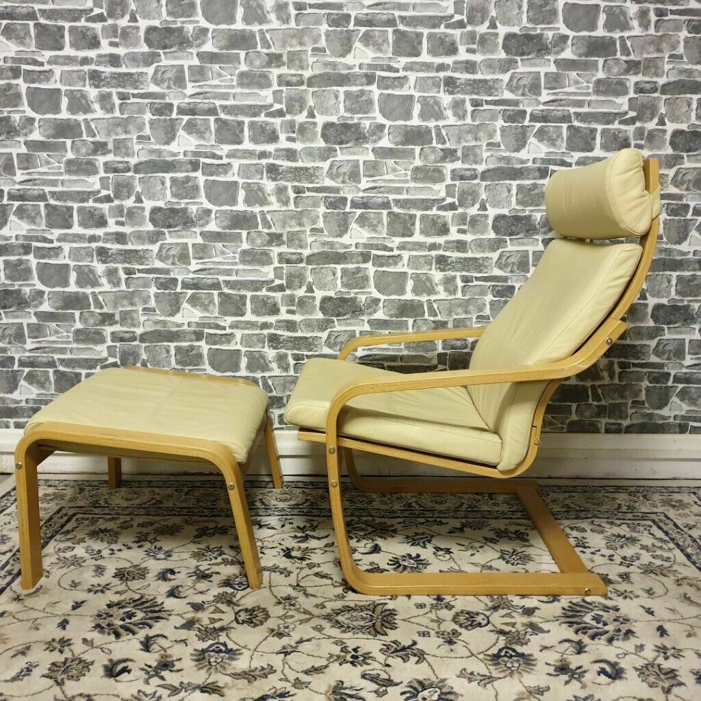 Fabulous Ikea Poang Cream Leather Chair Footstool In Bearsden Glasgow Gumtree Machost Co Dining Chair Design Ideas Machostcouk