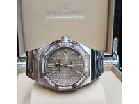 Full Silver AP Audemars Piguet Royal Oak wiyh Sikver Face and Diamond Bezel AP Boxed With PaperWork