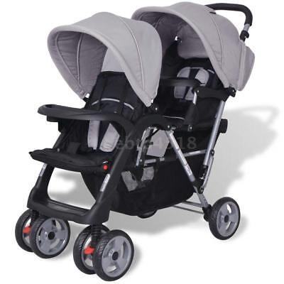 Geschwisterwagen Geschwister-Kinderwagen Baby Zwillingsbuggy Stahl Grau Neu L7T2