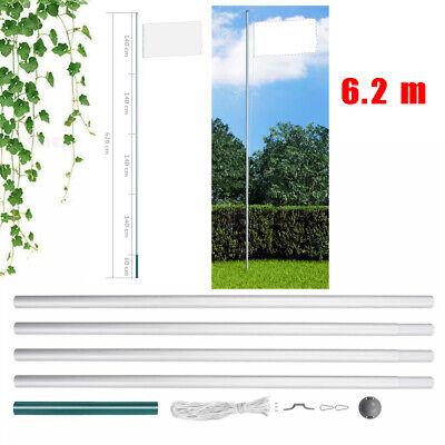 6.2m Sectional Flagpole Aluminium 5 Sections Flag Pole & Halyard Pole Kit