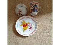 Disney' Winnie the Pooh childs bowl, plate and mug. Unused by us so in perfect condition.