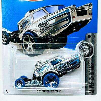 2018 Hot Wheels Super Chromes 8/10 HW Poppa Wheelie Blue #43 New Sealed 5sp