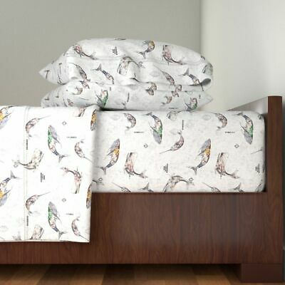 Whales Home Decor Baby Ocean Nautical 100% Cotton Sateen Sheet Set by Roostery