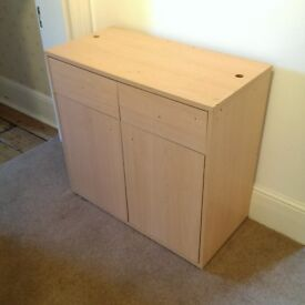Cabinet Cupboard with Two Doors and Two Drawers (Beech effect chipboard construction)