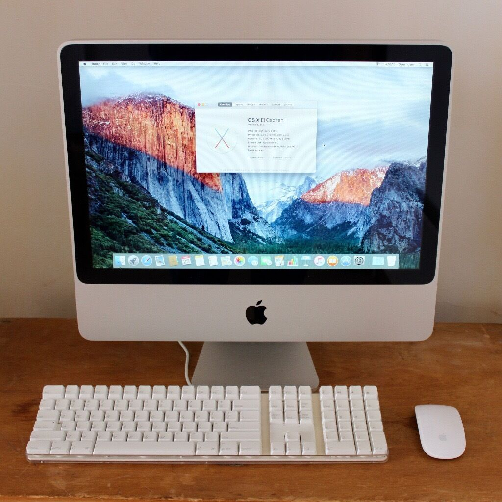 iMac (20 inch, early 2008in Bath, SomersetGumtree - iMac (20 inch, early 2008), with keyboard and mouse. 2.66GHz Intel Core 2 Duo processor 4GB memory 320GB HDD or 160GB SSD storage ATI Radeon HD 2600 Pro 256MB graphics OS X El Capitan 160GB SSD option £350