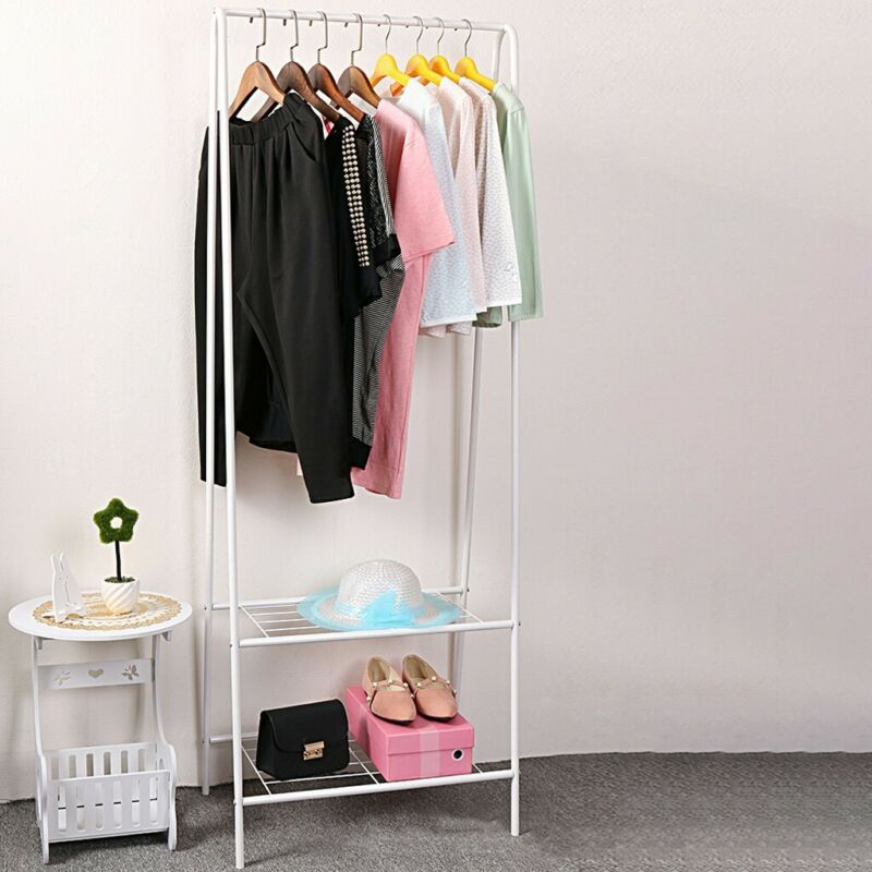Garment Rack White Metal Hanging Clothes Shelf Garment Rail Shoe Rack Hat Stand