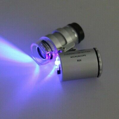 60x Pocket Mini Microscope Jewelry Magnifier Loupe Glass With Led Uv Light