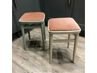 Pair of Retro 1970's Painted Kitchen Stools - upcycle project