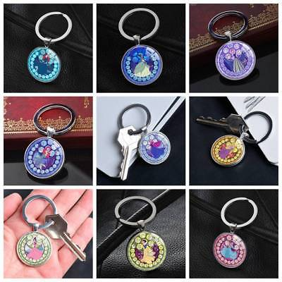 Disney Key Ring (Disney Cartoon Princess Ariel Snow White Keychain Silver Key Ring Pendants Gifts )