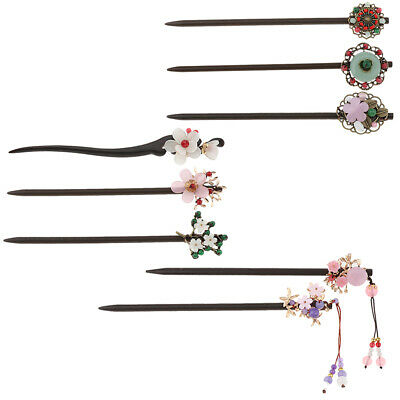Vintage Retro Women Traditional Wooden Hair Stick Pin Tassel Flower Hair Pin