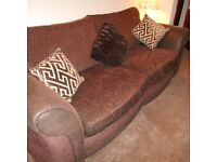 Leather/fabric 3 seater sofa, chair and stool