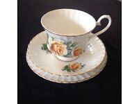English bone china cup, saucer and plate trio.