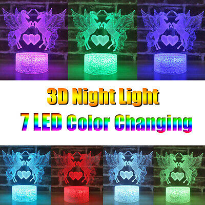 Unicorn 3D Night Light LED illusion Touch/Remote Color Changing Lamp Kids Gift