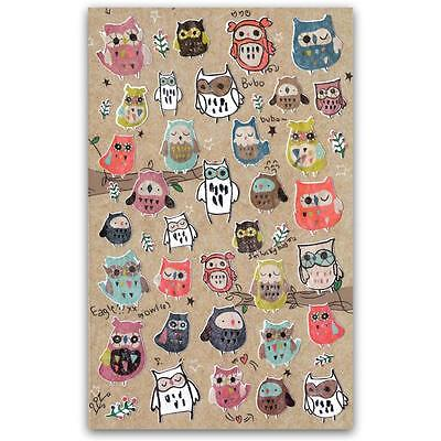 CUTE OWL STICKERS Sheet Bird Animal Korean Paper Kid Craft Scrapbook Sticker - Owl Scrapbook Paper